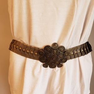 Italian Coins Stretchy Belt Italy Bronze Color 35""